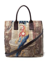 Dries Van Noten Multicolor Leather-trimmed Cotton-blend Tote Bag for men