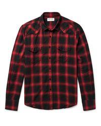 Saint Laurent Red Slim-fit Checked Cotton-blend Flannel Western Shirt for men