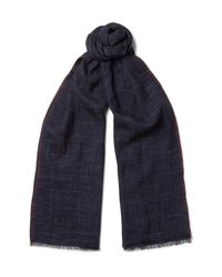 Brunello Cucinelli Blue Checked Silk And Linen-blend Scarf for men