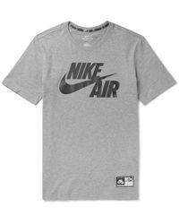Nike Gray Sportswear Air Printed Cotton-jersey T-shirt for men