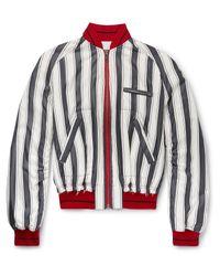 Haider Ackermann White Opium Distressed Striped Silk Bomber Jacket for men