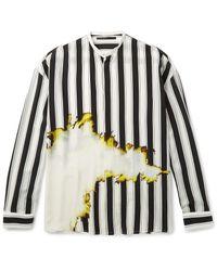 Haider Ackermann White Grandad-collar Double-cuff Printed Silk Shirt for men