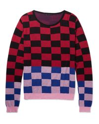 Haider Ackermann Red Oversized Checked Cotton And Cashmere-blend Sweater for men