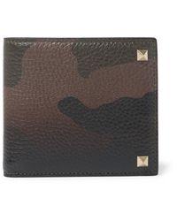 Valentino Green Rockstud Camouflage-print Full-grain Leather Billfold Wallet for men