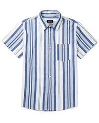 A.P.C. Blue Bryan Striped Cotton Shirt for men