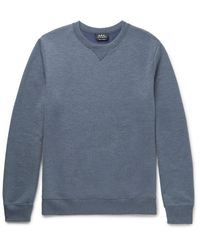 A.P.C. Blue Slim-fit Mélange Loopback Jersey Sweatshirt for men
