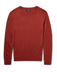 A.P.C. Red Nick Merino Wool And Silk-blend Sweater for men