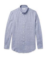 Loro Piana Blue Button-down Collar Micro-checked Linen Shirt for men