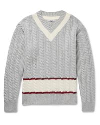 Tomas Maier Gray Slim-fit Cable-knit Wool Cricket Sweater for men