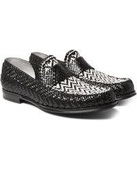 Dolce & Gabbana Black Woven Leather Loafers for men