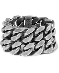Saint Laurent - Metallic Burnished Silver-tone Ring for Men - Lyst