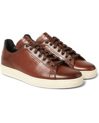 Tom Ford Brown Warwick Perforated Burnished-leather Sneakers for men