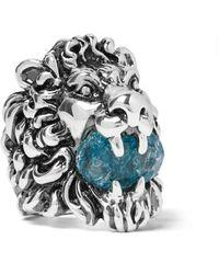 Gucci | Metallic Lion's Head Silver-tone Swarovski Crystal Ring | Lyst