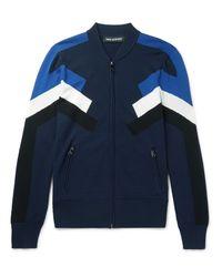 Neil Barrett Blue Intarsia-knit Zip-up Sweater for men