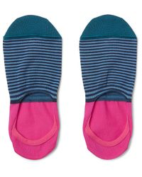 Paul Smith Blue Striped Mercerised Cotton-blend No-show Socks for men