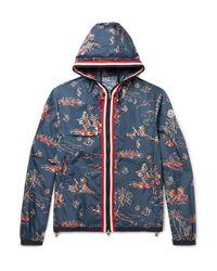 Moncler   Blue Anton Slim-fit Webbing-trimmed Printed Shell Hooded Jacket for Men   Lyst
