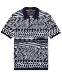 Missoni Blue Crochet-knit Cotton Polo Shirt for men