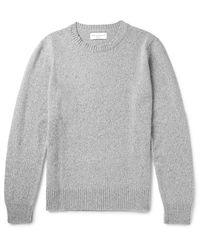 Officine Generale | Gray Marled Merino Wool And Cashmere-blend Sweater for Men | Lyst