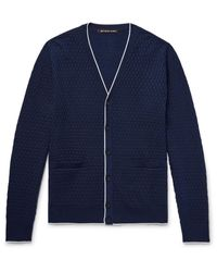 Michael Kors | Blue Contrast-tipped Basketweave Knitted Cardigan for Men | Lyst