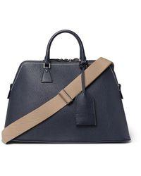 Maison Margiela Blue Full-grain Leather Holdall for men
