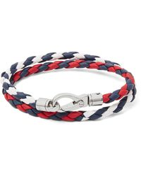 Tod's   Red Woven Leather Wrap Bracelet for Men   Lyst