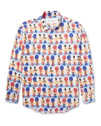 Our Legacy Pink Slim-fit Printed Cotton-voile Shirt for men