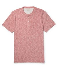 Faherty Brand | Red Slim-fit Mélange Cotton-blend Jersey Henley T-shirt for Men | Lyst