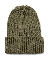 Beams Plus Green Ribbed Linen And Cotton-blend Beanie for men