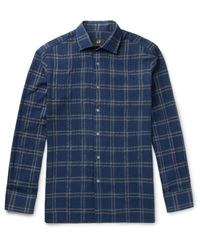 Dunhill Blue Slim-fit Checked Cotton-blend Shirt for men