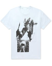 Helmut Lang Blue Logo-embroidered Printed Cotton-jersey T-shirt for men