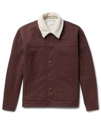 Fanmail Brown Sherpa-trimmed Organic Cotton-twill Jacket for men