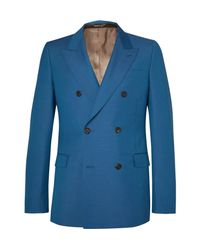 Alexander McQueen Blue Cobalt Double-breasted Wool And Mohair-blend Suit Jacket for men