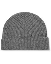 Lock & Co Gray Ribbed Cashmere Beanie for men