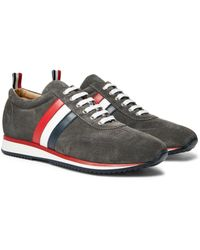 Thom Browne Gray Striped Suede And Leather Sneakers for men