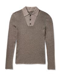 Bottega Veneta - Gray Ribbed Wool Sweater for Men - Lyst