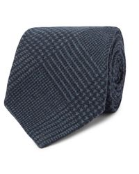 Kingsman Blue Drake's 8cm Prince Of Wales Checked Wool Tie for men
