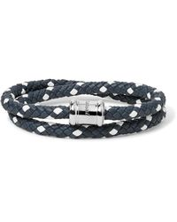 Miansai - Blue Double Casing Woven Leather Stainless Steel Bracelet for Men - Lyst