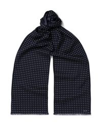 Tom Ford - Blue Patterned Wool And Silk-blend Scarf for Men - Lyst