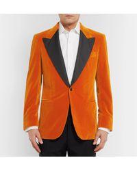 Kingsman Orange Silk-trimmed Cotton-velvet Tuxedo Jacket for men