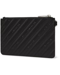 Givenchy Black Logo-debossed Leather Pouch for men
