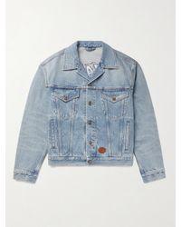 Gucci Blue Disney Leather-trimmed Embroidered Organic Denim Jacket for men