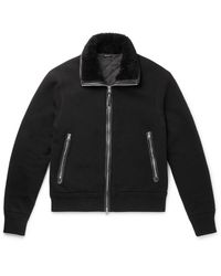 Tom Ford Black Shearling And Leather-trimmed Cotton And Cashmere-blend Jacket for men