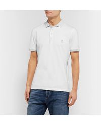 Brunello Cucinelli White Slim-fit Contrast-tipped Cotton-jersey Polo Shirt for men