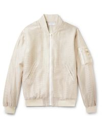 John Elliott Natural Tangleweave Bogota Woven Bomber Jacket for men