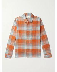 Folk Orange Patch Checked Brushed Cotton-flannel Shirt for men