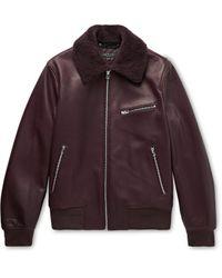 Rag & Bone Multicolor Shearling-trimmed Leather Bomber Jacket for men
