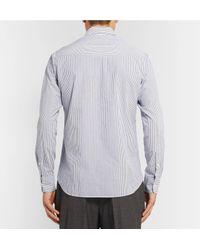 Officine Generale Blue Benoit Slim-fit Striped Cotton-seersucker Shirt for men