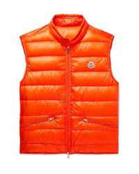 Moncler Orange Quilted Shell Down Gilet for men