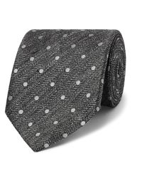 Tom Ford Gray 8cm Embroidered Herringbone Linen And Silk-blend Tie for men