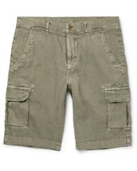 Loro Piana Green Stretch-linen And Cotton-blend Cargo Shorts for men